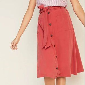 NWT Old Navy Red Tie Belt Utility Midi Skirt